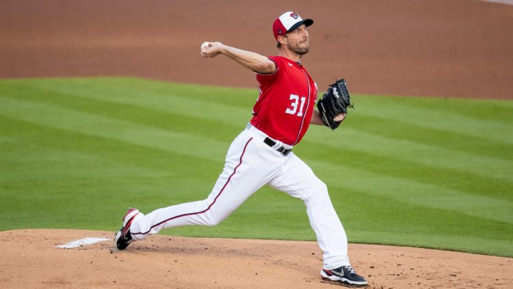 Mar 5, 2021; West Palm Beach, Florida, USA; Washington Nationals starting pitcher Max Scherzer (31) delivers a pitch against the St. Louis Cardinals during the first inning of a spring training game at FITTEAM Ballpark of the Palm Beaches. Mandatory Credit: Mary Holt-USA TODAY Sports