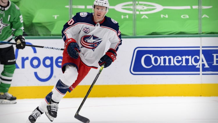 Mar 4, 2021; Dallas, Texas, USA; Columbus Blue Jackets center Riley Nash (20) in action during the game between the Dallas Stars and the Columbus Blue Jackets at the American Airlines Center. Mandatory Credit: Jerome Miron-USA TODAY Sports