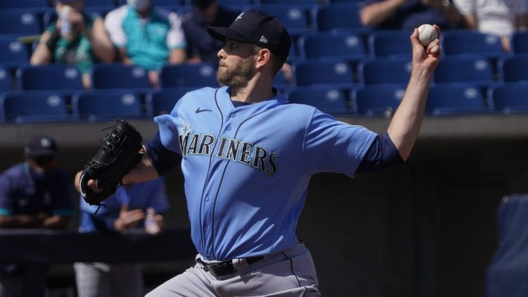 Mar 21, 2021; Phoenix, Arizona, USA; Seattle Mariners starting pitcher James Paxton (44) throws against the Milwaukee Brewers during a spring training game at American Family Fields of Phoenix. Mandatory Credit: Rick Scuteri-USA TODAY Sports