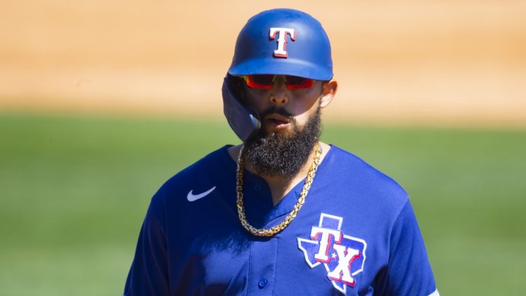 Mar 19, 2021; Glendale, Arizona, USA; Texas Rangers infielder Rougned Odor against the Los Angeles Dodgers during a Spring Training game at Camelback Ranch Glendale. Mandatory Credit: Mark J. Rebilas-USA TODAY Sports