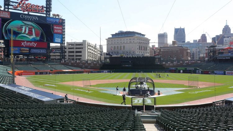 The Tigers take the field during practice on Wednesday, March 31, 2021, at Comerica Park, a day before Opening Day against the Cleveland Indians.  Comerica Park overview, general view of Comerica Park