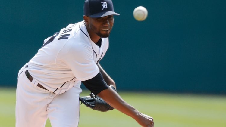 Apr 3, 2021; Detroit, Michigan, USA;  Detroit Tigers starting pitcher Julio Teheran (50) pitches in the first inning against the Cleveland Indians at Comerica Park. Mandatory Credit: Rick Osentoski-USA TODAY Sports