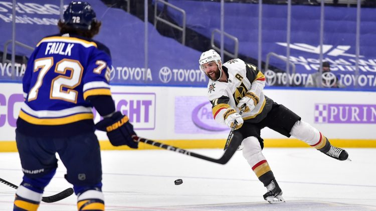 Apr 5, 2021; St. Louis, Missouri, USA;  Vegas Golden Knights defenseman Alex Pietrangelo (7) moves the puck up ice during the first period against the St. Louis Blues at Enterprise Center. Mandatory Credit: Jeff Curry-USA TODAY Sports