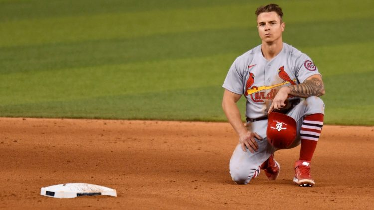Apr 5, 2021; Miami, Florida, USA; St. Louis Cardinals left fielder Tyler O'Neill (27) reacts after being called out at second base against the Miami Marlins in the eighth inning at loanDepot Park. Mandatory Credit: Jim Rassol-USA TODAY Sports