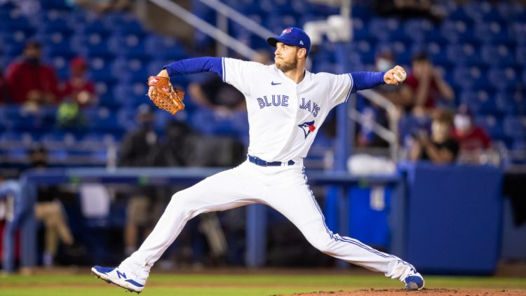 Apr 10, 2021; Dunedin, Florida, USA; Toronto Blue Jays starting pitcher Steven Matz (22) delivers a pitch against the Los Angeles Angels during the second inning at TD Ballpark. Mandatory Credit: Mary Holt-USA TODAY Sports
