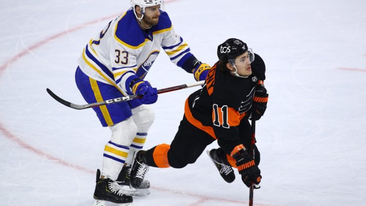 Apr 11, 2021; Philadelphia, Pennsylvania, USA; Buffalo Sabres defenceman Colin Miller (33) hits Philadelphia Flyers right wing Travis Konecny (11) in the first period at Wells Fargo Center. Mandatory Credit: Kyle Ross-USA TODAY Sports