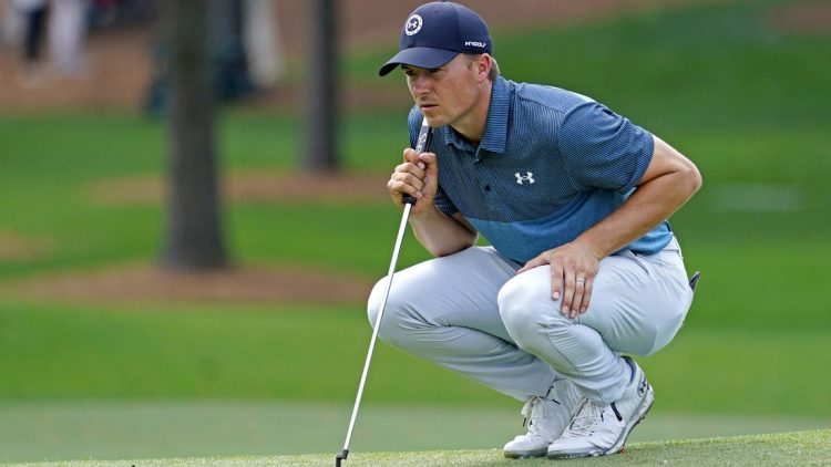 Apr 11, 2021; Augusta, Georgia, USA; Jordan Spieth lines up his putt on the seventh green during the final round of The Masters golf tournament. Mandatory Credit: Michael Madrid-USA TODAY Sports