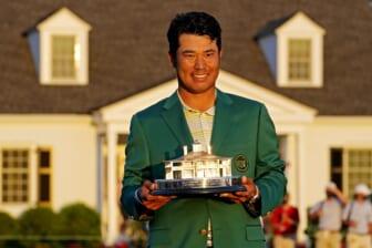 Apr 11, 2021; Augusta, Georgia, USA; Hideki Matsuyama celebrates with The Masters trophy after winning The Masters golf tournament. Mandatory Credit: Rob Schumacher-USA TODAY Sports