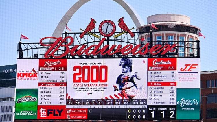 Apr 14, 2021; St. Louis, Missouri, USA;  The St. Louis Cardinals salute catcher Yadier Molina (4) for starting his 2,000 game as catcher for one organization during the first inning against the Washington Nationals at Busch Stadium. Mandatory Credit: Jeff Curry-USA TODAY Sports