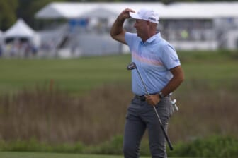 Apr 18, 2021; Hilton Head, South Carolina, USA; Stewart Cink reacts on the green of the eighteenth hole after winning the 2021 RBC Heritage golf tournament. Mandatory Credit: Joshua S. Kelly-USA TODAY Sports