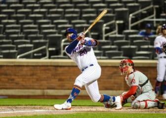 Apr 13, 2021; New York City, New York, USA;  New York Mets first baseman Pete Alonso (20) at Citi Field. Mandatory Credit: Wendell Cruz-USA TODAY Sports