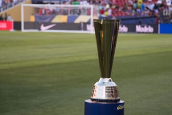 July 26, 2017; Santa Clara, CA, USA; General view of the trophy before the finals of the CONCACAF Gold Cup between Jamaica and the United States at Levi's Stadium. The United States defeated Jamaica 2-1. Mandatory Credit: Kyle Terada-USA TODAY Sports