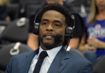 Jan 4, 2018; Los Angeles, CA, USA; TNT broadcasters Chris Webber reacts during an NBA basketball game between the Oklahoma City Thunder and the Los Angeles Clippers at Staples Center. The Thunder defeated the Clippers 127-117. Mandatory Credit: Kirby Lee-USA TODAY Sports