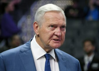 Mar 15, 2019; Los Angeles, CA, USA; LA Clippers executive board member Jerry West reacts in the first half against the Chicago Bulls at the Staples Center. Mandatory Credit: Kirby Lee-USA TODAY Sports