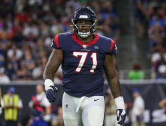 Aug 17, 2019; Houston, TX, USA; Houston Texans offensive tackle Tytus Howard (71) walks off the field during the game against the Detroit Lions at NRG Stadium. Mandatory Credit: Troy Taormina-USA TODAY Sports