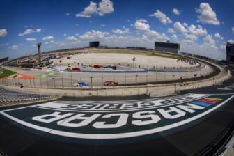 Jul 19, 2020; Fort Worth, TX, USA; A view of the NASCAR logo cover during the O'Reilly Auto Parts 500 race at Texas Motor Speedway. Mandatory Credit: Jerome Miron-USA TODAY Sports