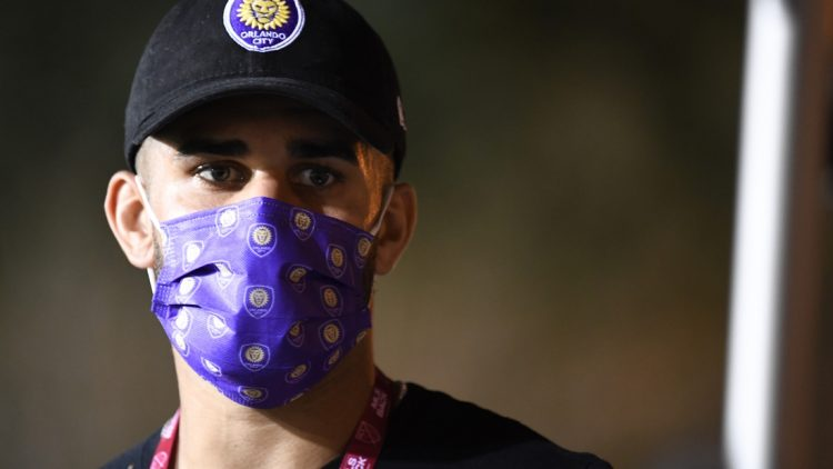 Aug 11, 2020; Orlando, FL, Orlando, FL, USA;  Orlando City forward Dom Dwyer (14) before the game against the Portland Timbers at ESPN Wide World of Sports Complex. Mandatory Credit: Douglas DeFelice-USA TODAY Sports