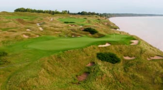The par 3 12th hole at Whistling Straits.  Mjs 12 Ryder Cup Hole