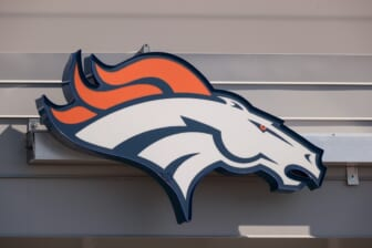 Aug 27, 2020; Englewood, Colorado, USA; A general view of the Denver Broncos logo outside of UCHealth Training Center where practice was cancelled after a morning team meeting. Mandatory Credit: Isaiah J. Downing-USA TODAY Sports