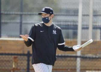 Feb 21, 2021; Tampa, Florida, USA;  New York Yankees pitching coach Matt Blake (67) at Yankees player development complex. Mandatory Credit: Kim Klement-USA TODAY Sports