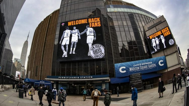 Feb 23, 2021; New York, New York, USA;  A sign welcoming back fans prior to the start of the game between the New York Knicks and the Golden State Warriors at Madison Square Garden. Mandatory Credit: Wendell Cruz-USA TODAY Sports