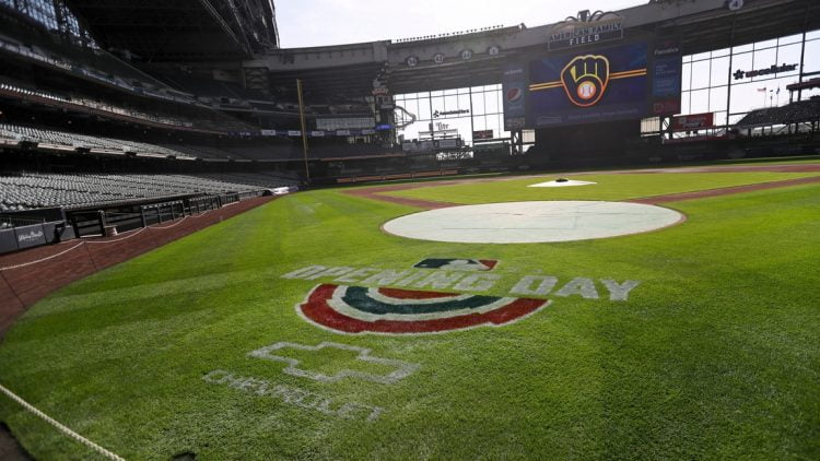 The opening day logo is displayed on American Family Field on Tuesday, March 30, 2021, in Milwaukee. The Milwaukee Brewers open their 2021 season at 1:10 p.m. Thursday against the Minnesota Twins.  MJS-brewcol01p1