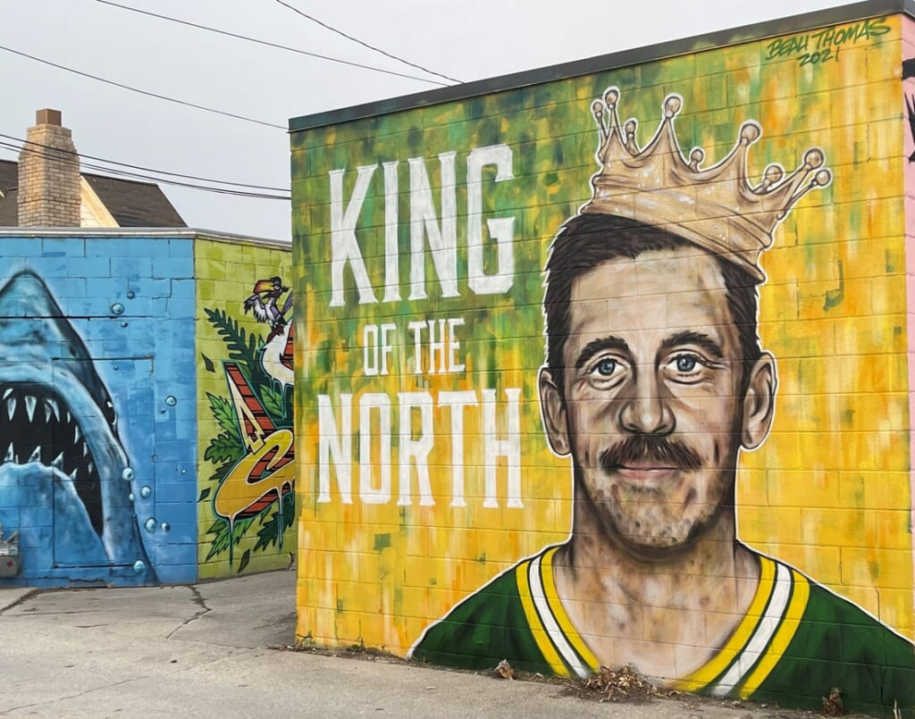 A new mural of Green Bay Packers quarterback Aaron Rodgers by artist Beau Thomas can be found in the alley in the 300 block of South Broadway in Green Bay.  Rodgersmural
