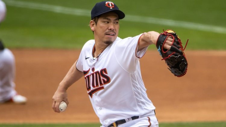 Apr 14, 2021; Minneapolis, Minnesota, USA; Minnesota Twins starting pitcher Kenta Maeda (18) delivers a pitch in the first inning against the Boston Red Sox at Target Field. Mandatory Credit: Jesse Johnson-USA TODAY Sports