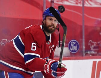 Apr 14, 2021; Montreal, Quebec, CAN; Montreal Canadiens defenseman Shea Weber (6) juggles a puck during the warmup period before the game against the Calgary Flames at the Bell Centre. Mandatory Credit: Eric Bolte-USA TODAY Sports