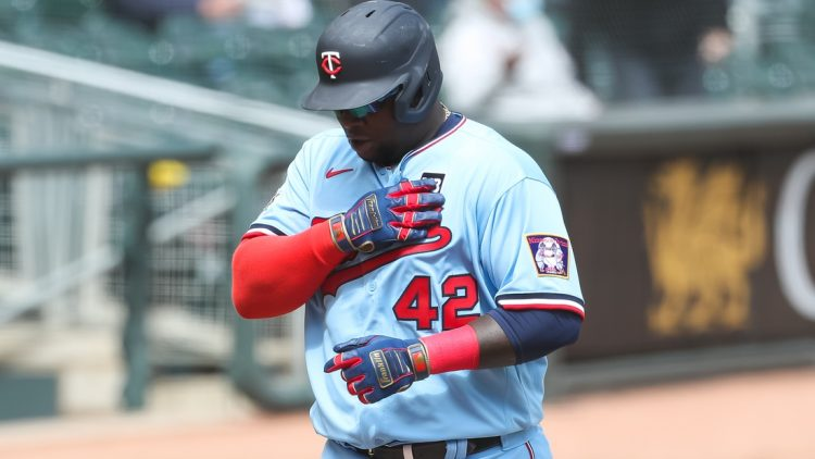 Apr 15, 2021; Minneapolis, Minnesota, USA; Minnesota Twins first baseman Miguel Sano celebrates after hitting a solo home run against the Boston Red Sox in the sixth inning at Target Field. Mandatory Credit: David Berding-USA TODAY Sports