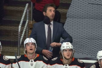 Apr 20, 2021; Los Angeles, California, USA; Anaheim Ducks coach Dallas Eakins reacts  in the first period against the LA Kings at Staples Center. Mandatory Credit: Kirby Lee-USA TODAY Sports