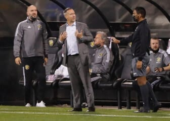 Columbus Crew SC head coach Caleb Porter reacts from the bench in the second half of the first leg of the CONCACAF Champions League quarterfinals against CF Monterrey at Crew Stadium in Columbus on Wednesday, April 28, 2021. The teams tied 2-2.  Columbus Crew Sc Vs Cf Monterrey