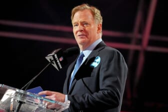 Apr 29, 2021; Cleveland, Ohio, USA; NFL commissioner Roger Goodell announces the final pick of the 2021 NFL Draft for the Tampa Bay Buccaneers at First Energy Stadium. Mandatory Credit: Kirby Lee-USA TODAY Sports