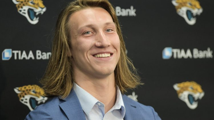 Jaguars No. 1 draft pick Trevor Lawrence appears at Friday afternoon's press conference at TIAA Bank Field.  Jki 043021 Trevorlawrencea 7