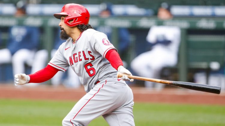 May 1, 2021; Seattle, Washington, USA; Los Angeles Angels third baseman Anthony Rendon (6) hits a two-run double against the Seattle Mariners during the second inning at T-Mobile Park. Mandatory Credit: Jennifer Buchanan-USA TODAY Sports