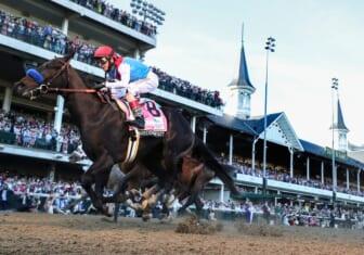 John Velazquez, aboard Medina Spirit, wins the Kentucky Derby.  Derbyclevenger02