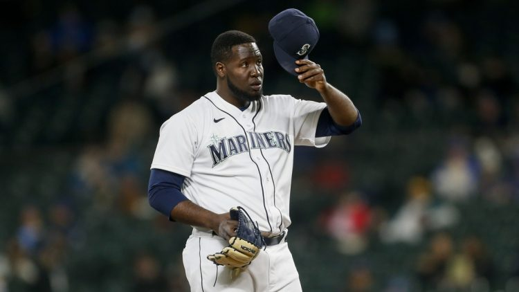 May 3, 2021; Seattle, Washington, USA; Seattle Mariners relief pitcher Domingo Tapia (45) throws against the Baltimore Orioles during the third inning at T-Mobile Park. Mandatory Credit: Joe Nicholson-USA TODAY Sports