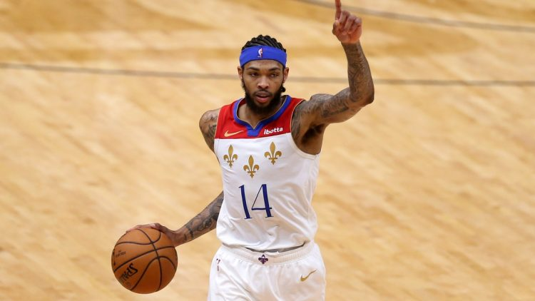 May 4, 2021; New Orleans, Louisiana, USA; New Orleans Pelicans forward Brandon Ingram (14) gestures in the third quarter against the Golden State Warriors at the Smoothie King Center. Mandatory Credit: Chuck Cook-USA TODAY Sports