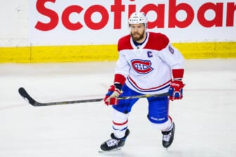 Apr 23, 2021; Calgary, Alberta, CAN; Montreal Canadiens defenseman Shea Weber (6) skates against the Calgary Flames during the second period at Scotiabank Saddledome. Mandatory Credit: Sergei Belski-USA TODAY Sports