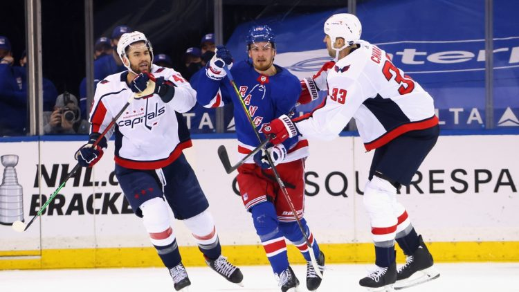 May 5, 2021; New York, New York, USA;  Pavel Buchnevich #89 of the New York Rangers skates against Tom Wilson #43 and Zdeno Chara #33 of the Washington Capitals during the first period at Madison Square Garden. Mandatory Credit:  Bruce Bennett/POOL PHOTOS-USA TODAY Sports