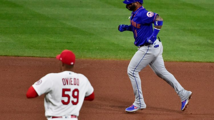 May 5, 2021; St. Louis, Missouri, USA;  New York Mets shortstop Jonathan Villar (1) runs the bases after hitting a solo home run off of St. Louis Cardinals starting pitcher Johan Oviedo (59) during the fourth inning in game two of a doubleheader at Busch Stadium. Mandatory Credit: Jeff Curry-USA TODAY Sports