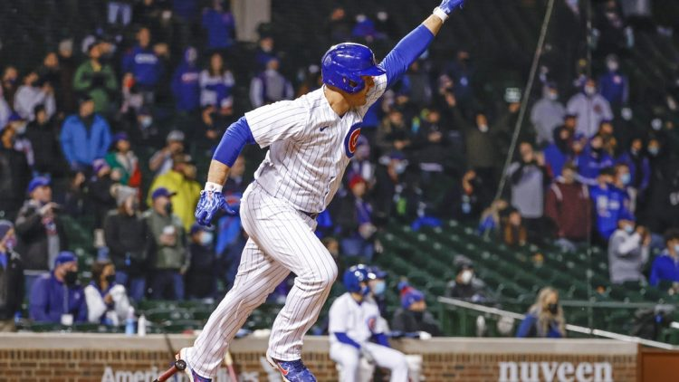 May 5, 2021; Chicago, Illinois, USA; Chicago Cubs first baseman Anthony Rizzo (44) reacts after hitting a walk-off RBI-single against the Los Angeles Dodgers during the 11th inning at Wrigley Field. Mandatory Credit: Kamil Krzaczynski-USA TODAY Sports