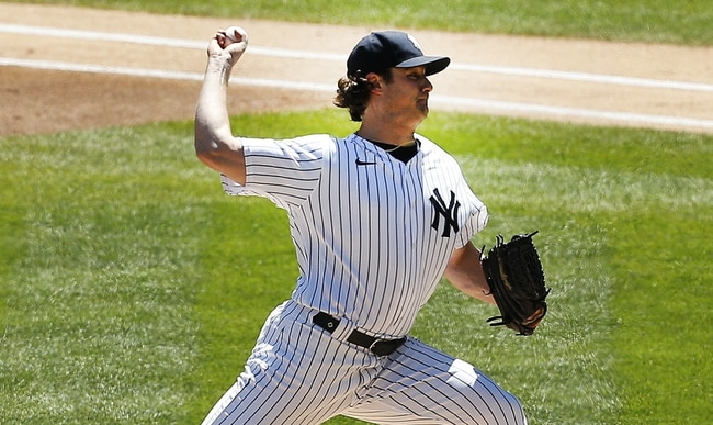 May 6, 2021; Bronx, New York, USA;  New York Yankees starting pitcher Gerrit Cole (45) pitches against the Houston Astros during the first inning at Yankee Stadium. Mandatory Credit: Andy Marlin-USA TODAY Sports
