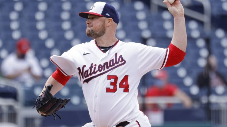 May 6, 2021; Washington, District of Columbia, USA; Washington Nationals starting pitcher Jon Lester (34) pitches against the Atlanta Braves in the second inning at Nationals Park. Mandatory Credit: Geoff Burke-USA TODAY Sports