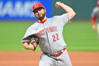 May 7, 2021; Cleveland, Ohio, USA; Cincinnati Reds starting pitcher Wade Miley (22) throws a pitch during the first inning against the Cleveland Indians at Progressive Field. Mandatory Credit: Ken Blaze-USA TODAY Sports