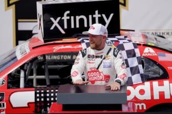 May 8, 2021; Darlington, SC, USA; NASCAR Xfinity Series driver Justin Allgaier celebrates after winning the Steakhouse Elite 200 at Darlington Raceway. Mandatory Credit: Jasen Vinlove-USA TODAY Sports