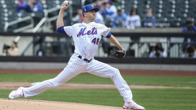 May 9, 2021; New York City, New York, USA;  New York Mets pitcher Jacob deGrom (48) pitches in the first inning against the Arizona Diamondbacks at Citi Field. Mandatory Credit: Wendell Cruz-USA TODAY Sports