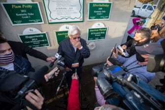 Medina Spirit's trainer Bob Baffert talks with the media the morning after winning the Kentucky Derby with Medina Spirit. One week later it was announced that the horse tested positive for an abundance of an anti-inflammatory drug following the race. April 26, 2021  Aj4t9233