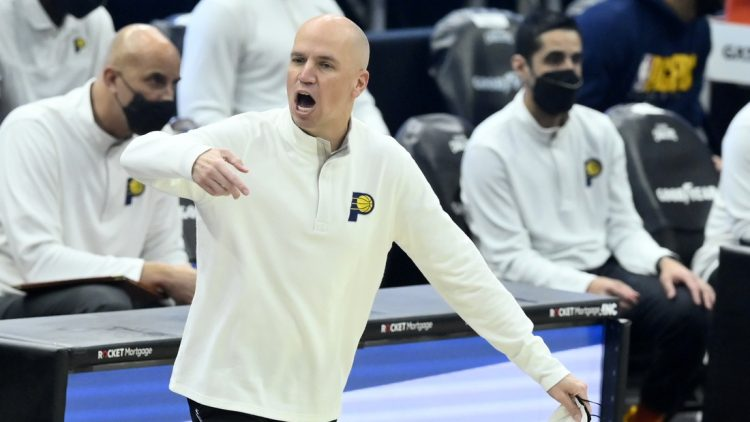 May 10, 2021; Cleveland, Ohio, USA; Indiana Pacers head coach Nate Bjorkgren reacts in the second quarter against the Cleveland Cavaliers at Rocket Mortgage FieldHouse. Mandatory Credit: David Richard-USA TODAY Sports