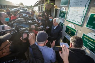 Bob Baffert spoke with the media in front of his barn on the backside of Churchill Downs the day after his seventh victory in the Kentucky Derby with Medina Spirit. May 2, 2021  Aj4t9290